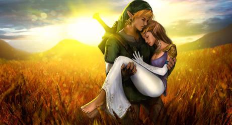 Link and Zelda by skribbliX