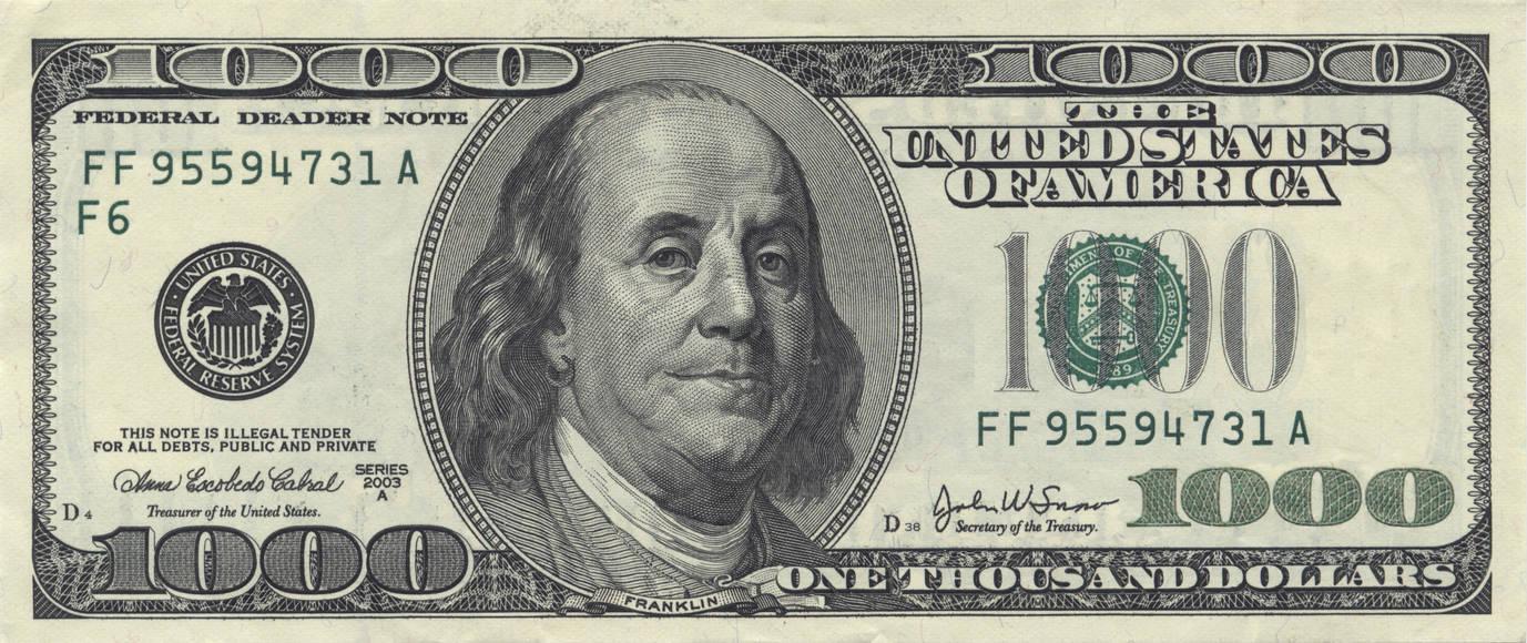 1000 Dollar Bill By Notech4u
