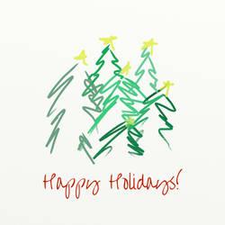 Happy Holiday Trees by majykwolfe