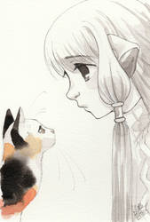 Chii and a cat by Little-Roisin
