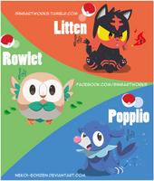 Starters Pokemon Sun and Moon by Nekoi-Echizen