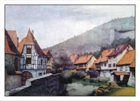 Kaysersberg village painted with ballpoint pen by laocaikhanh
