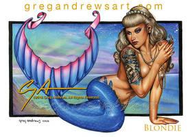 BLONDIE Fantasy Mermaid Pinup Art Greg Andrews Art by Greg-Andrews-Art