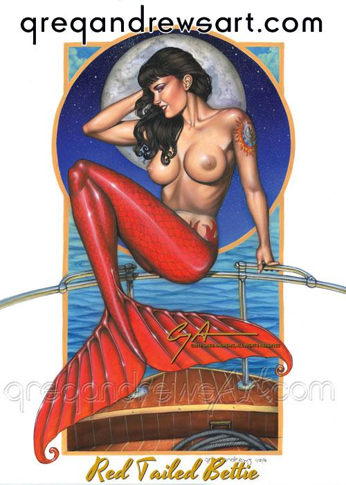 A RED TAILED BETTIE mermaid Greg Andrews Artist by Greg-Andrews-Art