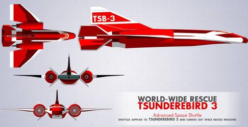Tsunderebird 3 Advanced Space Shuttle by ShojiAmasawa