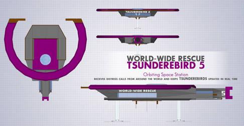 Tsunderebird 5 Orbiting Space Station by ShojiAmasawa