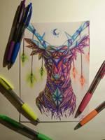 Cheap Art Challenge/ Diamond Deer by lunastyczna