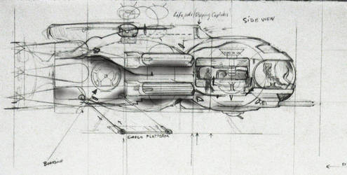 Side view of my spaceship sketch by ABJECTO