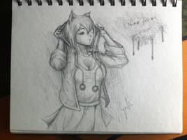Traditional artwork 8 - 4th Neko Girl Concept by HowlingNeko