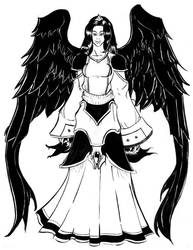 Woman with black wings by silverleofirius