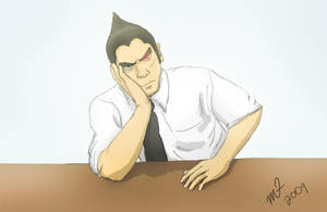 Kazuya Bored At Work by NegroSaki