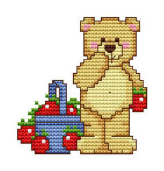 Teddy Bear With Apples Cross Stitch Pattern by innazimovec