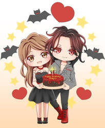 Chibi: BirthdayXHalloween Couple by Suisaiga012