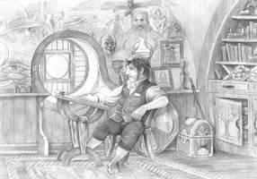 Bilbo at his desklr by AbePapakhian