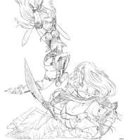 Neferu vs Emiress and Deianira by justonewing