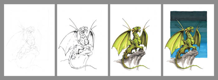 Green dragon Step by step by a-little-genius