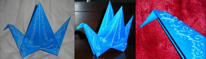 Embroidered Origami Bird by SpiderPsalms