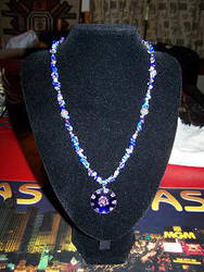 Blue Floral necklace by graveinimages
