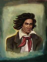 painting Ludwig van Beethoven Portrait by eydii
