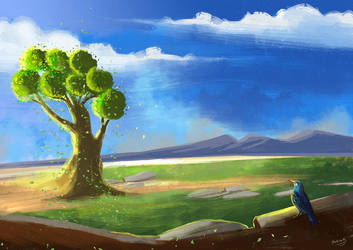 Fantastic Tree Landscape illustration by eydii