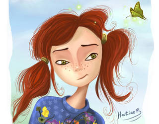 The little red headed cartoon girl illustration by eydii