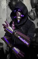 The summoner - light up cyberpunk gauntlets + mask by TwoHornsUnited