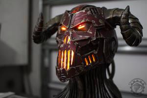 The Necrotron Helmet - RGB LED cyber devil by TwoHornsUnited