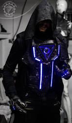 Progenitor -RGB LED cyberpunk chest armor / gloves by TwoHornsUnited