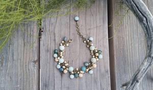 Amanzonite Jasper Mother of pearl bronze bracelet by Joshou