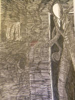 Slenderman pen sketch by IntoTheDarkLand