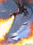 Flaming dragon by shiprock