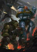 Space Marine vs Ork by Dead-Wintera
