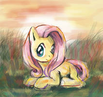Fluttershy in the Morning Meadow by lotothetrickster