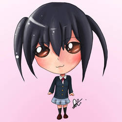Azusa Nakano in chibi land by elieang