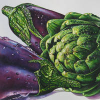 Aubergines and an Artichoke by tlmale