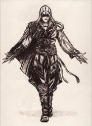 Ezio - Assassin's Creed (drypoint) by elodagus