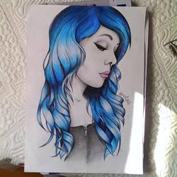 blue hair by NuriaAragon