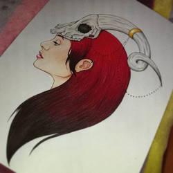 skull girl by NuriaAragon