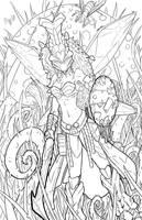 DnD - Vespidoli - line art by teamzoth