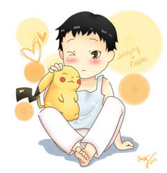 JunHyung and Pikachu by paperkimchi