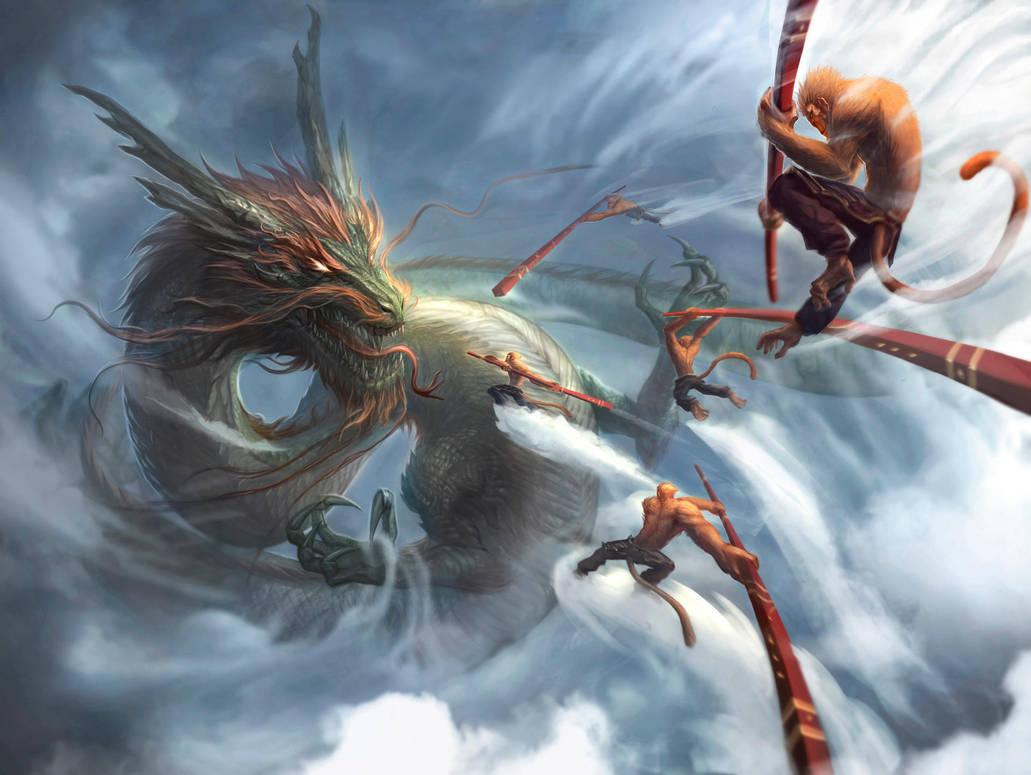 Monkey King v Dragon King: Dawn of Heaven Ruin by funnyberserker