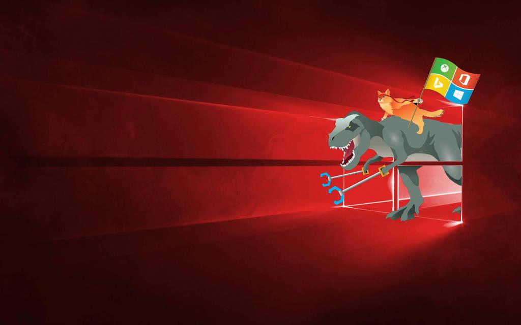 Windows 10 Ninja Cat and T Rex by Kohlheppj13