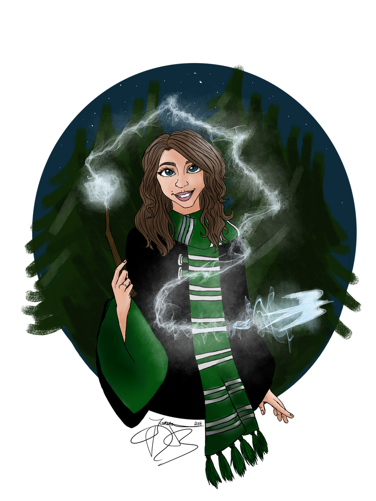 Slytherin with a Swift patronus by jessica-doessing