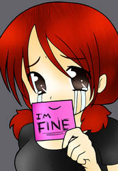 I'm Fine -LINEART COLOR- by CrownedQueen