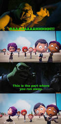 Shrek scares citizens of Perfection by Paula712