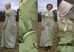 Regency Day Dress and Bonnet by larrissma