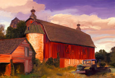 Old Barns and Truck by xxchef