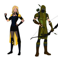 Green Arrow and Black Canary by shorterazer