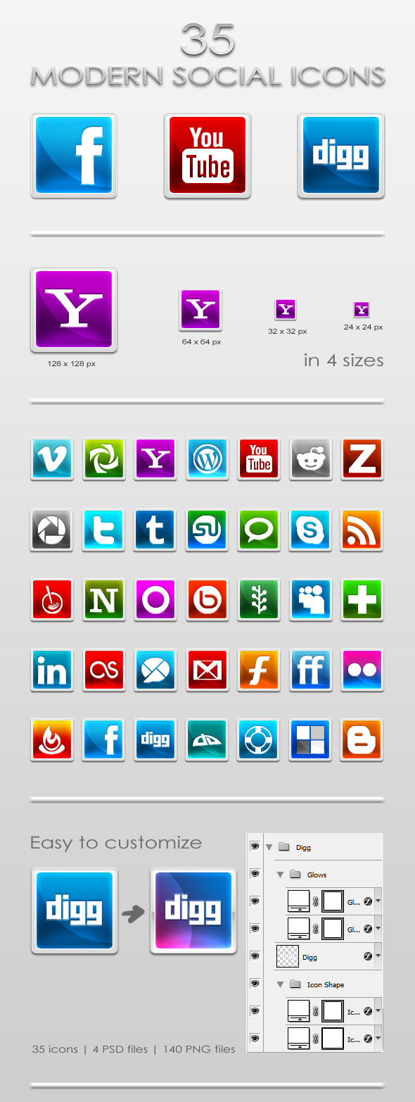 35 Modern Social Icons by ArtoriusGothicus