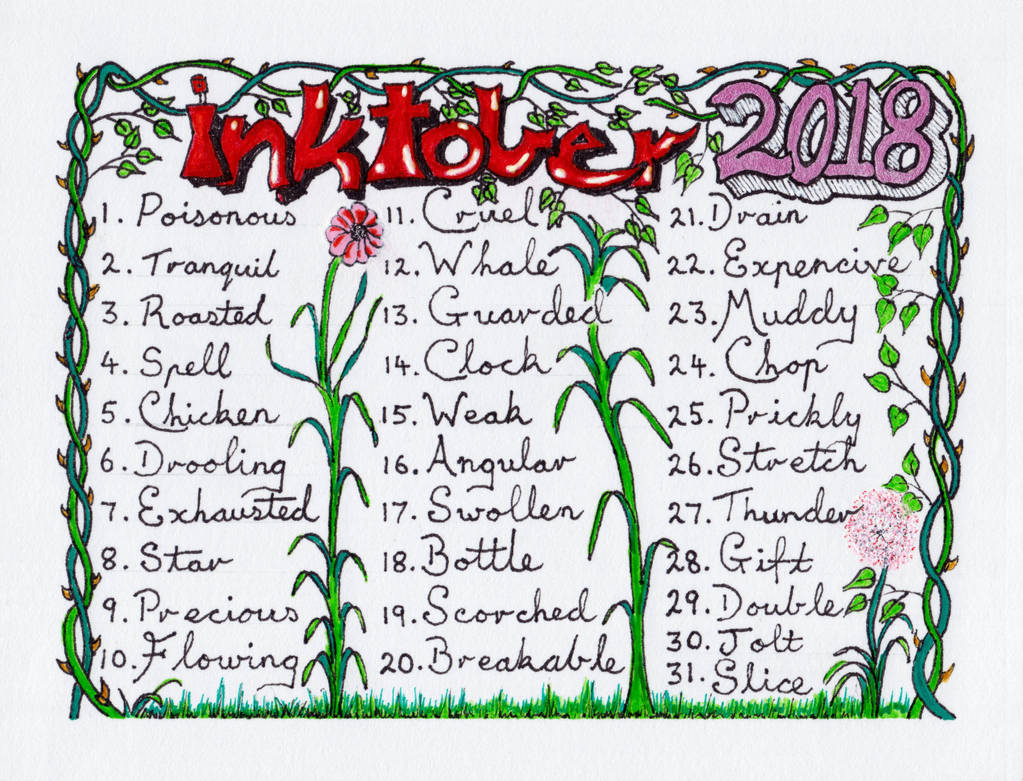 INKtober 2018 = Promt List by straingedays